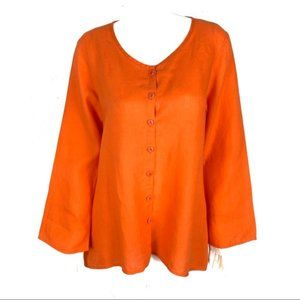 FLAX Button Down Shirt Top Small Orange Oversized